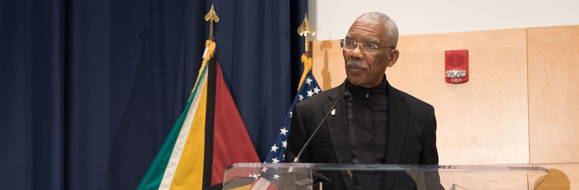President Granger of Guyana addresses the audience at the 2017 Perry Award Ceremony