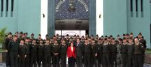 Terror-Crime Nexus Seminar attendees and Professor Realuyo on the front steps of the Peruvian Army Intelligence College