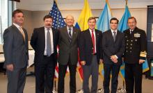 From left: Colonel Carlos Ignacio Gonzalez, General Javier Florez, CHDS Professor Carlos Ospina,  CHDS Director Richard Downie, Dr. Alejandro Arbelaez, and Vice Admiral Henry Blain.