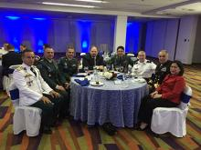 From left: Lieutenant Colonel Erico Oviedo (Paraguay); Colonel Javier Alberto Ayala Amaya, head of the Center for Strategic Security and Defense Studies (CEESEDEN); Dean Carlos Enrique Martinez Caballero, ESDEGUE; Prof. David Spencer; General Sean Mulholland, Rear Admiral Luis Jorge Tovar Nieva, and Prof. Celina Realuyo during the class dinner.